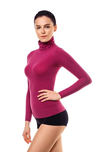 MD Basic Slim Fit Long Sleeve Turtleneck T-Shirt Thermal Underwear Waist Tummy and Bust Shaper BurgundyL Body Sculpt T-shirt Bra