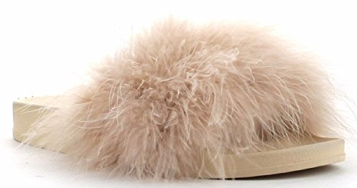 Cape Robbin Moira-2 Women Flip Flop Marabou Fur Slide Slip On Flats Sandals Shoe Slipper Nude 7