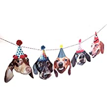 Dachshunds Birthday Party Garland Decoration - wiener dogs in hats - photo reproductions on felt