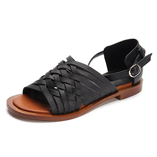 Women's Blend Toe Open Materials Black Low Sandals Heels Buckle VogueZone009 Solid FqwdIF