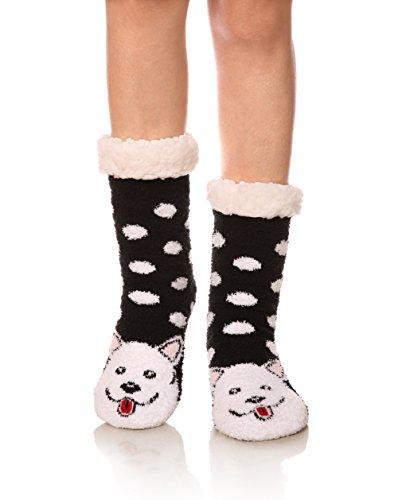 Womens Super Soft Cute Cartoon Animal fuzzy Cozy Non-Slip Winter Slipper Socks (Dog) ()