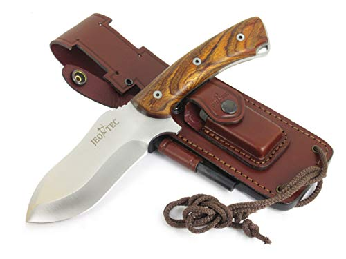 JEO-TEC N 35 Bushcraft Survival Hunting Camping Knife, MOVA-58, Genuine Leather Multi-Position Sheath Firesteel Sharpener Stone, Handmade
