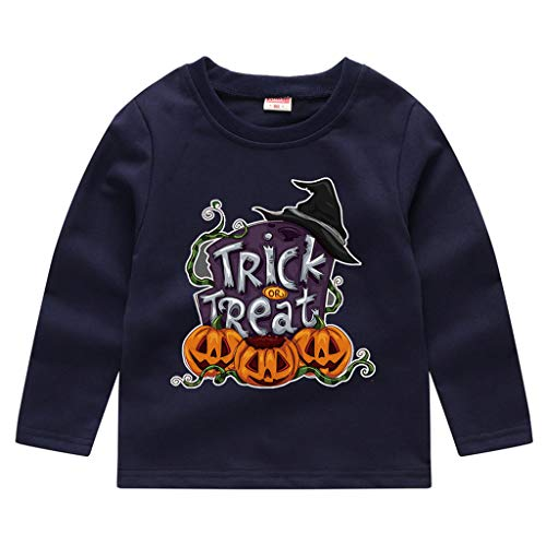 Toddler Kids Long Sleeve T-Shirt,Crytech Baby Boy Girls Trick Or Treat Pumpkin Ghost Skull Print Pullover Sweatshirt Halloween Theme Costume Fall Winter Tee Shirts (2-3 Years, Navy)