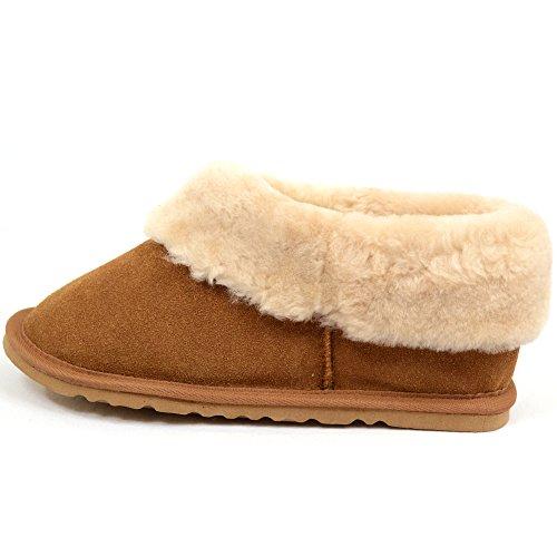 Ladies Luxury Sheepskin Slipper Boot with Thick Cuff & Lightweight Flexible Hard Sole by Bushga (Plum, Mink, Chestnut) Chestnut