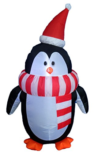 4 Foot Tall Christmas Inflatable Cute Penguin with Scarf Yard Decoration (Cute Halloween Yard Decoration Ideas)
