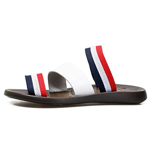 Zapatillas Dermal de Cuero Zapatillas Antideslizantes Sandalias de Verano Zapatillas de Ocio Sandalias de Playa, blanco, UK = 8, EU = 42