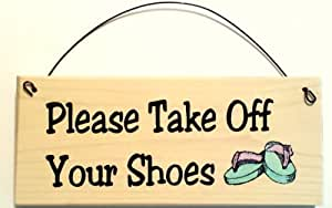 Please take off your shoes purple flip flop Taking shoes off in house etiquette