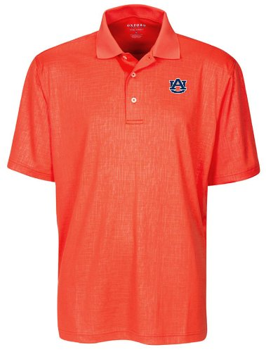 Oxford NCAA Auburn Tigers Men's Cross Hatched Embossed Polo Shirt, Sunkissed, X-Large