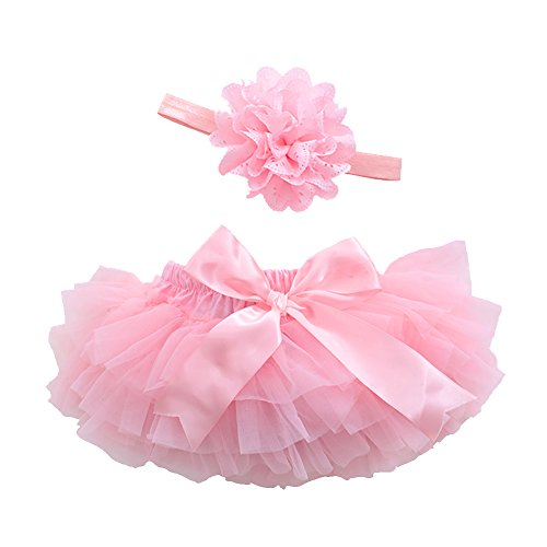 Baby Girls' Bloomers Infant Toddlers Cotton Tulle Ruffle with Bow Diaper Cover and headhand (M(6-12Month), Pink) ()