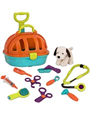 Battat - Pup & Go Vet Kit - Rolling Toy Vet Kit with Plush Dog for Children Aged 3+ (12pcs),BT2625C1Z