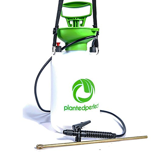 5L CHEMICAL GARDEN SPRAYER - 1.3 Gal Pump Pressure Liquid Sprayers For Fertilizer, Weed Killer, Pesticides and Herbicides - RUST-FREE Brass Hose End is Perfect Grass Watering Tool (Water Wand O-ring)