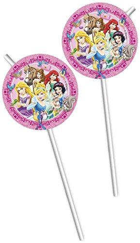 Disney Princess Rapunzel, Blancanieves y Co 6 pajuelas cumpleaños de los niños