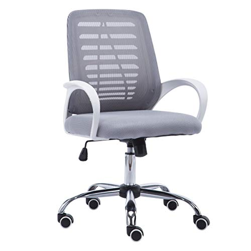JR Knight Mesh Chair, Home Office Desk Swivel Chair Height Adjustable (Gray)