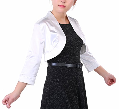Torera Fiesta 3 Mujer Elegante Blanco Manga Timormode para 4 Satén TqFYnSw