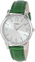 Timex Women's T2P092TN Dark Green Croco Patterned Leather Strap Dress Watch