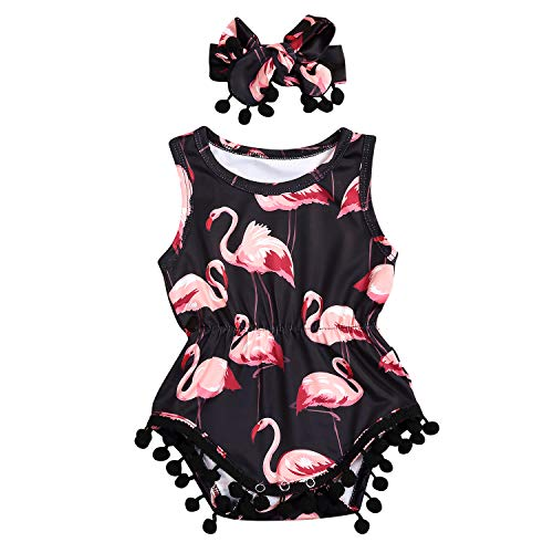 Newborn Toddler Baby Girl Romper Bodysuit Sleeveless Floral Jumpsuit Outfit Set with Headband (0-6 Months, Flamingo) ()