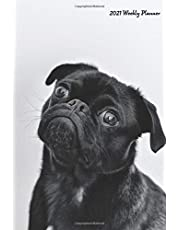 """2021 Weekly Planner: Cute Black Pug 2021 Weekly Calendar With Goal Setting Section and Habit Tracking Pages, 6""""x9"""""""