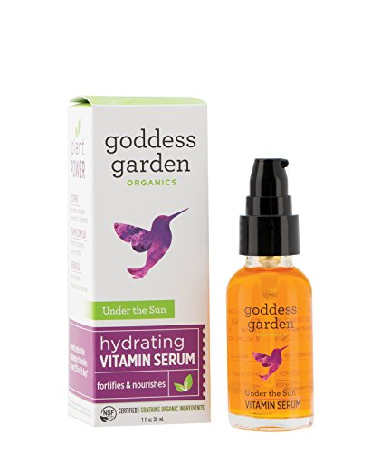 Goddess Garden Organics Under the Sun Hydrating Vitamin Serum (1 oz. Bottle) Certified Organic, Vegan, Leaping Bunny Certified Cruelty-Free, Paraben-Free, Gentle on Sensitive Skin, Certified B Corp (Best Hydrating Serum For Sensitive Skin)