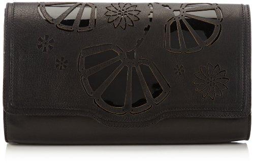 kaviar gauche Flower Lasercut Pochette T132, Pochette Donna Nero (Schwarz (Black)