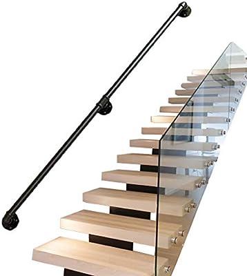 Vintage Pasamanos para escaleras Exterior Interior Metal Negro Hierro Forjado |Las Soportes de barandillas de barandas Directamente a la Puerta de la Escalera o a la Entrada de la Bodega: Amazon.es: Hogar