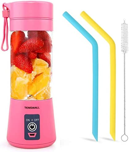 Tenswall Portable, Personal Size Blender Shakes and Smoothies Mini Jucier Cup USB Rechargeabl, crimson