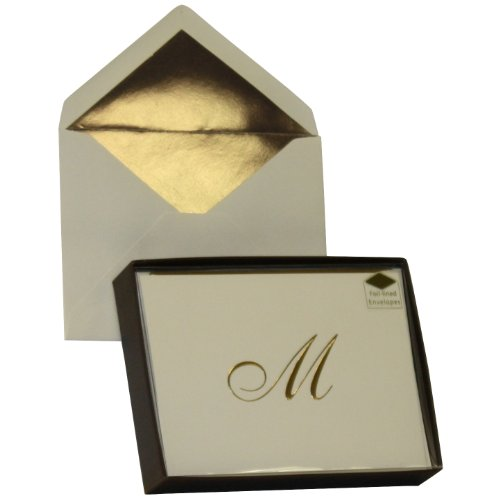 Designer Greetings Monogram Boxed Note Cards, Personalized Stationery Set (10 Count), Letter M