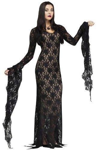 Lace Costume Morticia (Fun World Women's Miss Darkness Costume, Black,)