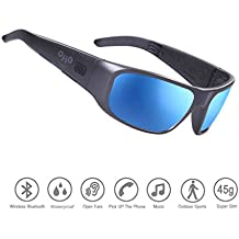 Waterproof Bluetooth Sunglasses,Open Ear Audio Sunglasses with Polarized UV400 Protection Safety Lenses,Unisex Design Sport Headset for All Smart Phones
