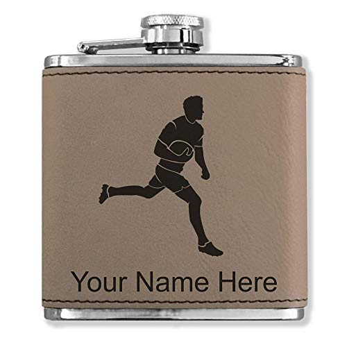 - Faux Leather Flask, Rugby Player, Personalized Engraving Included (Light Brown)