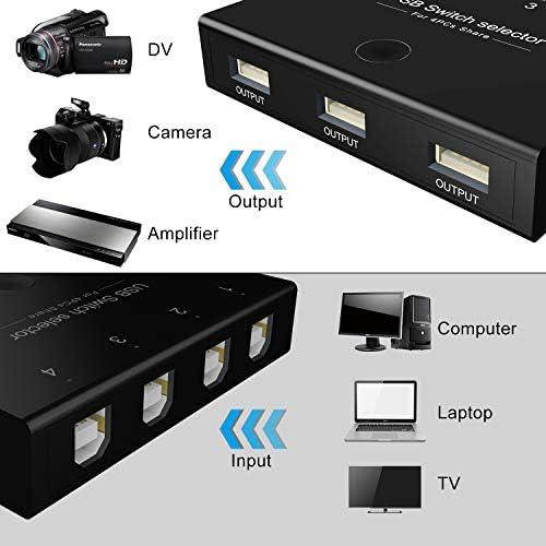 DIGITNOW Selector de conmutadores USB, 4 puertos USB periféricos para 4 ordenadores, compartiendo 3 dispositivos USB, teclado, ratón, escáner, impresora, con 4 cables USB 6