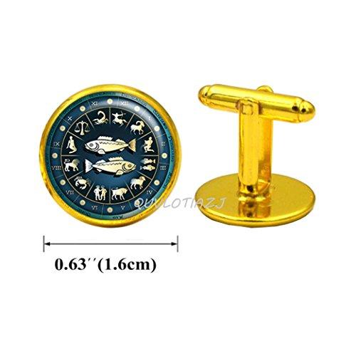 - QUVLOTIAZJ Pisces Blue Wheel Zodiac Cuff Links, Pisces Cufflinks, Pisces jewelry, Pisces Cuff Links, Pisces birthday gift, Zodiac jewelry astrology,ot59 (A2)