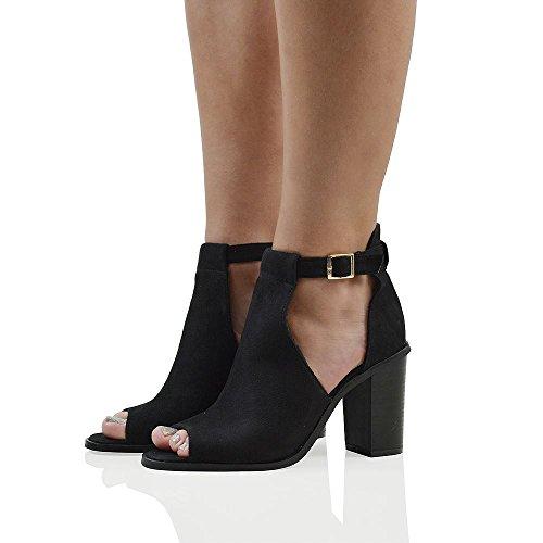 Essex Glam Mujeres Peep Toe Sandalias Con Correa De Tobillo Heels Faux Suede Ladies Zapatos Black Faux Suede