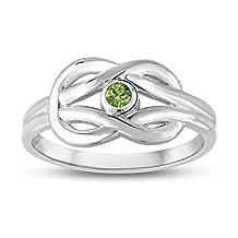August Birthstone (Swarovski) Double Love Knot Ring