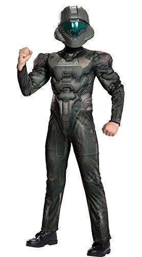 Halo Spartan Buck Classic Muscle Costume, Black, Medium (7-8)