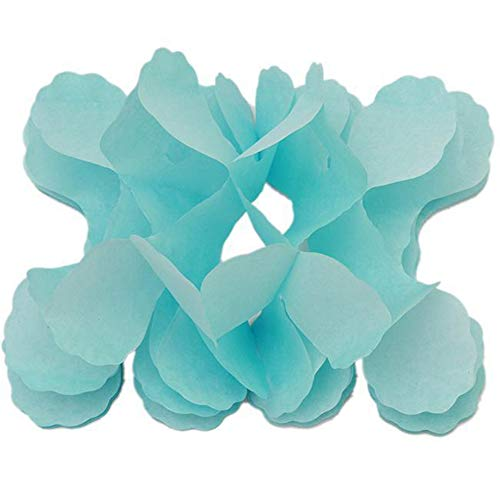 skoqjFQSen 11.81 Feet/3.6M Hanging Garland Four-Leaf Clover Paper Flower Wedding Party Decor - Light Blue