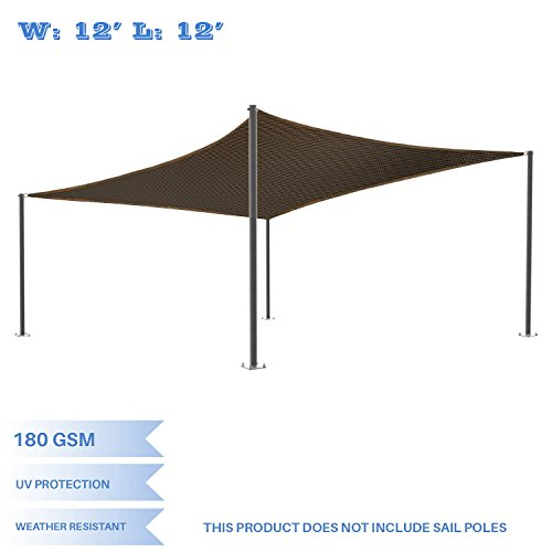 E&K Sunrise 12' x 12' Brown Sun Shade Sail Square Canopy - Permeable UV Block Fabric Durable Patio Outdoor Set of 1 (Deck Cover)