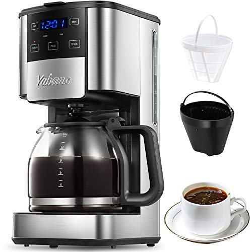 Image of Programmable Coffee Maker, 12 Cups Glass Carafe with Keep Warming Pad,
