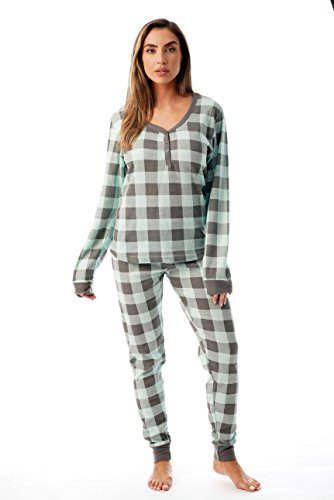 #followme Buffalo Plaid 2 Piece Base Layer Thermal Underwear Set for Women 6372-10195-NEW-MNT-L ()