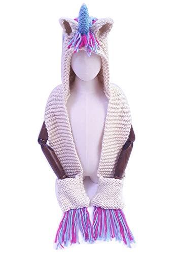 Kids Warm Winter Cartoon Hat with Scarf Pocket,Cute Crochet Knitted Hood Scarf Earflap Cosplay Beanies (S, Purple)