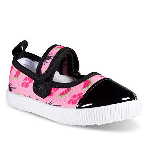 (Girls Mary Jane Sneakers - Casual Canvas Shoes, Easy Close, Toddler Sizes 5-10)