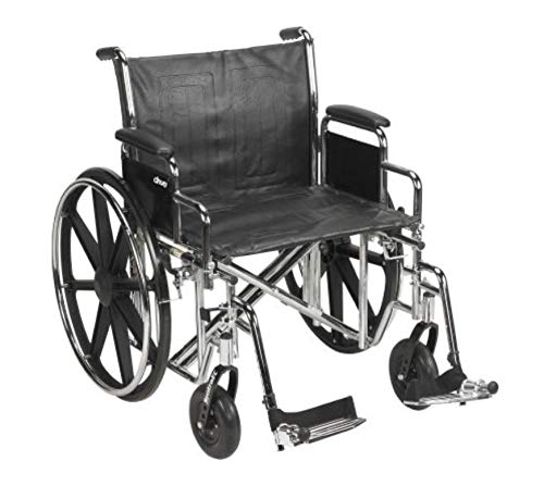 Drive Medical Sentra EC Heavy Duty Wheelchair with Various Arm Styles and Front Rigging Options, Black, Bariatric, 22 Inch