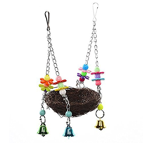 Natural Rattan Nest Bird Swing Toy Colorful Flowers Bells for Parrot Cockatoo Macaw Amazon African Grey Budgie Parakeet Cockatiel Cage Perch (S)