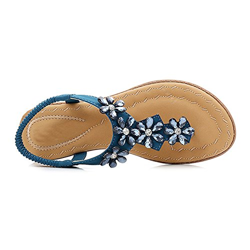 Thong planos Tacones libre Color Amazing Verano Zapatos Tamaño EU36 diamantes Playa 5 para al Azul CN35 Roman planos playa UK3 Azul Sandalias mujer para de Boho aire Verano ft8fqP
