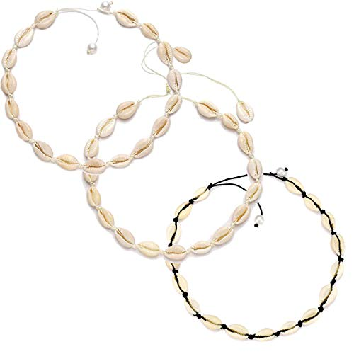 Shell Necklace Beach Choker Necklace Handmade Hawaii Wakiki Natural Cowrie Shell Beads Necklace Sets 3Pcs Bohemian Necklace Jewelry for Women Girls Ladies (3 Pcs - Piece 3 Choker
