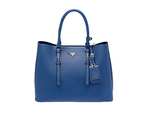 Prada Saffiano Leather Tote Handbag Bluette (Prada Blue Handbag)