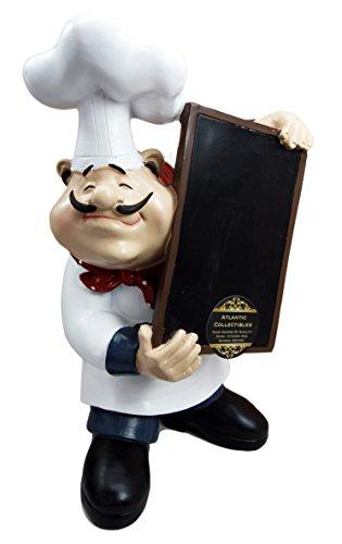 Atlantic Collectibles Chef Mario Italian Bistro Holding Chalkboard Menu Kitchen Decor Statue 10.75