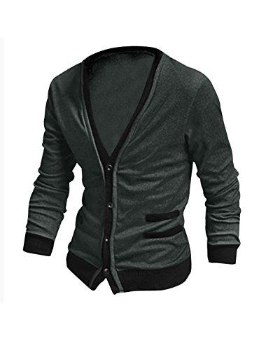 Allegra K Mens Long Sleeve Pockets Ribbing Detail Cardigan Dark Gray L
