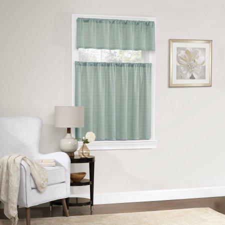 Dotted Room Darkening Small Window Kitchen Curtain Set 56x36 (Mint)