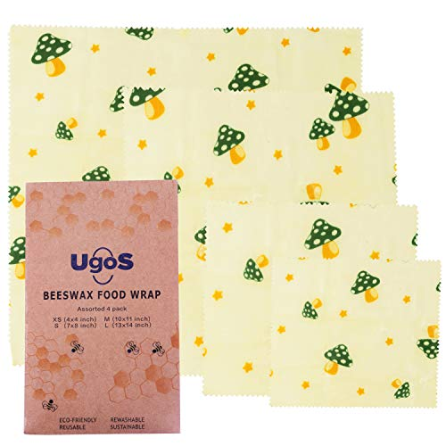 UGOS Organic Beeswax Food Wraps - Reusable Bees Wax Paper Wrap, Assorted 4 Pack (Mushrooms)