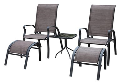 Sling Chair Set (COURTYARD CREATIONS KTS7377 Four Seasons Verona 5 Piece Brown Sling Outdoor)
